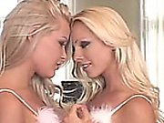 Blonde lesbian teens, in sexy fluffy lingerie, fisting and more
