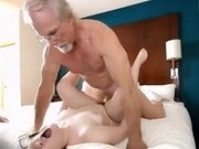 Horny slut fucked by daddy and uncle and gets creampied live