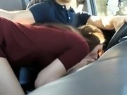 Cute Brunette Sucks Dudes Dick While He Drives Car